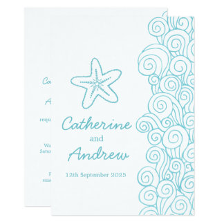Starfish sea swirl blue beach wedding invitation