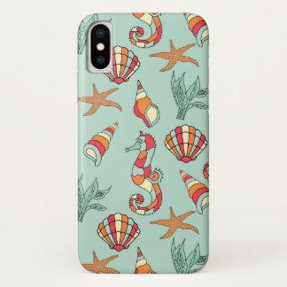 Starfish, seahorse, seashell, seaweed design case