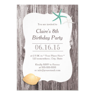 Starfish & Seashell Beach Driftwood Birthday Party Card