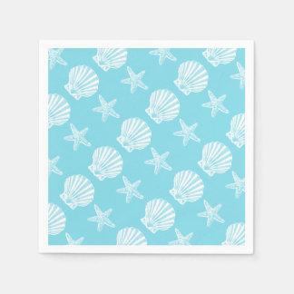 Starfish shell beach theme blue paper serviettes