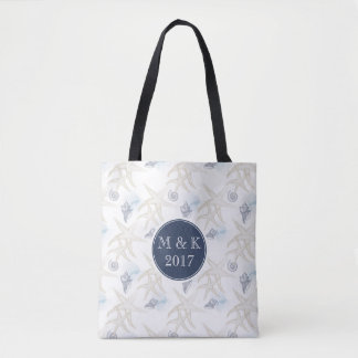 Starfish Shell Monogram Wedding Beach Tote Bag