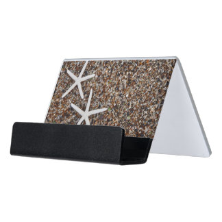Starfish skeletons on Glass Beach Desk Business Card Holder