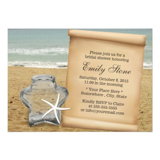 Starfish & Star Glass Jar Beach Bridal Shower Personalized Invitations