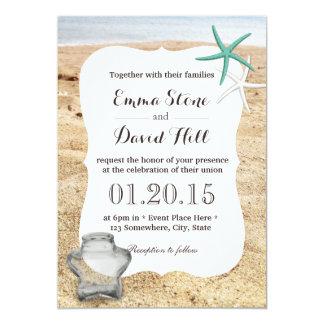 Starfish & Star Glass Jar Beach Wedding 13 Cm X 18 Cm Invitation Card