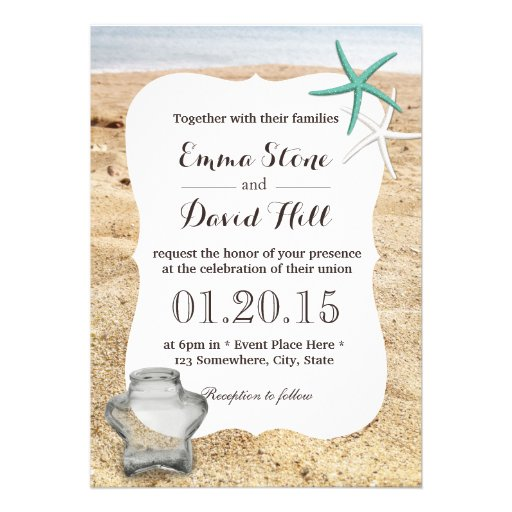 Starfish & Star Glass Jar Beach Wedding Custom Announcements