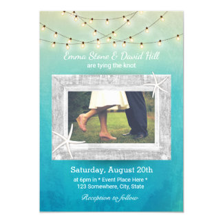 Starfish String Lights Watercolor Photo Wedding 13 Cm X 18 Cm Invitation Card