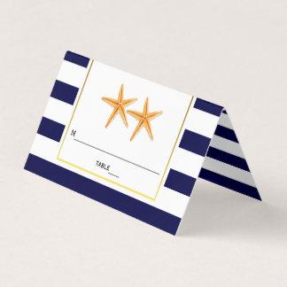 Starfish & stripes navy blue wedding folded escort place card