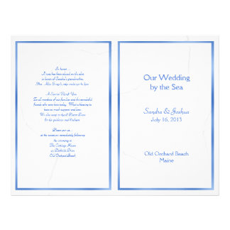 Starfish, Summer Wedding Program Template, Folded 21.5 Cm X 28 Cm Flyer