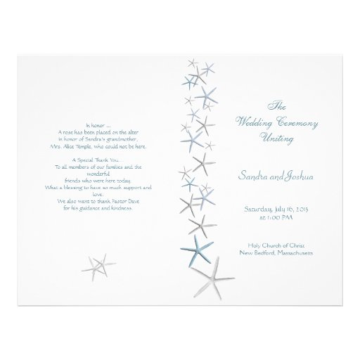 Starfish, Summer Wedding Program Template, Folded Flyer Design