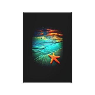 starfish sunset beach canvas