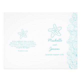 Starfish & swirls blue white wedding programs 21.5 cm x 28 cm flyer