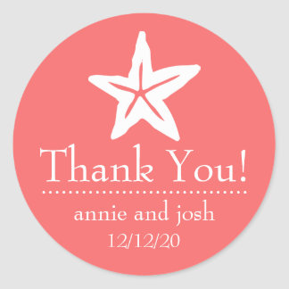 Starfish Thank You Labels (Coral) Round Sticker