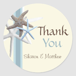 Starfish Thank You, Round Personalized Sticker