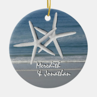 Starfish Together At Christmas Ornament, 2 Ceramic Ornament
