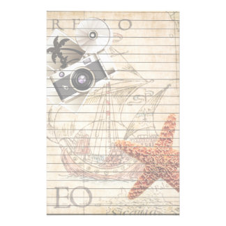 Starfish Vintage Camera and Sailing Ship Lined Stationery