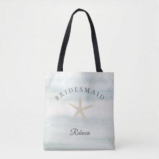 Starfish Watercolor Beach Bridesmaid Tote Bag