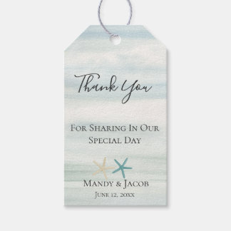 Starfish Watercolor Beach Wedding Favor Thank You Gift Tags