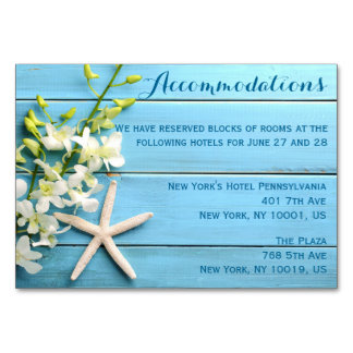 Starfish Wedding Accommodation Cards Orchid