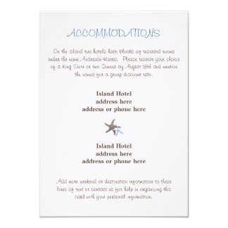 Starfish Wedding Accommodations Enclosure Card