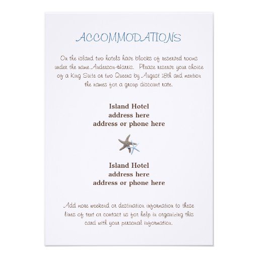 Starfish Wedding Accommodations Enclosure Card Personalized Invites
