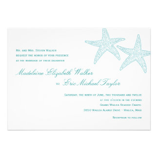 Starfish Wedding Invitation - Turquoise Announcement