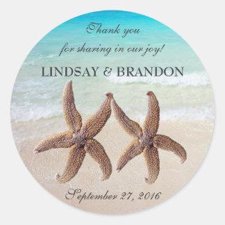 Starfish Wedding Ocean Thank You Favor Labels Round Sticker