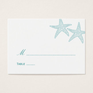 Starfish Wedding Place Card - Turquoise