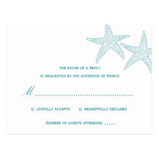 Starfish Wedding RSVP Postcard - Turquoise