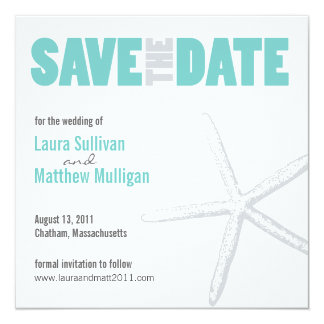 Starfish Wedding Save the Date 13 Cm X 13 Cm Square Invitation Card