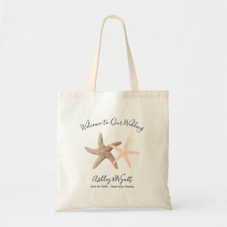 Starfish Wedding Welcome Coral Brown Guest Favour Tote Bag