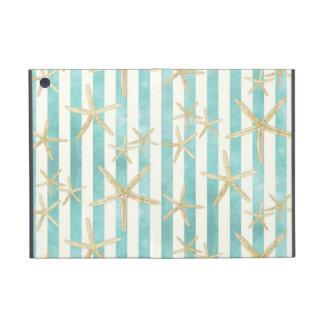 Starfish, White Finger Ocean Shells Beach Striped Cover For iPad Mini