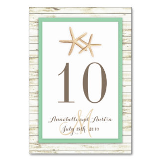 Starfish Whitewashed Wood Beach Tropical Wedding Table Cards