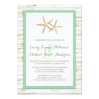 Starfish Whitewashed Wood Beach Wedding Invitation
