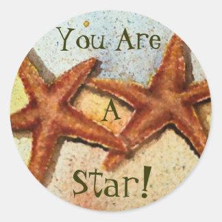 starfish, You Are, A, Star! Round Sticker
