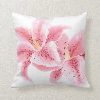 Stargazer Lilies Watercolor Pillow