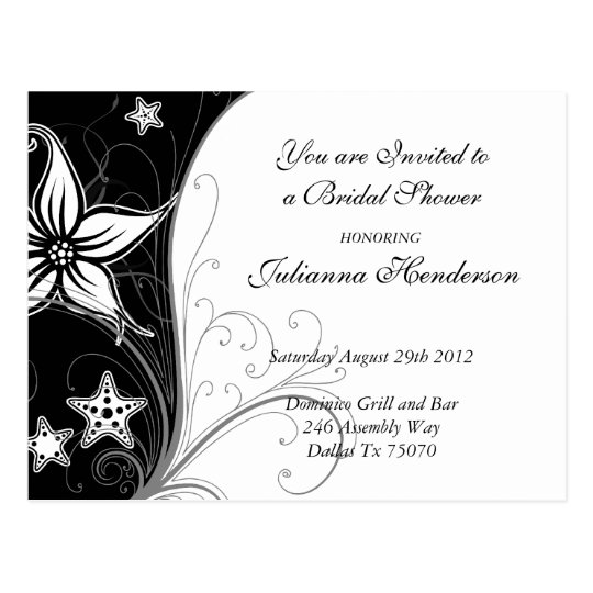 Stargazer Lilly and Starfish Bridal Shower Invite Postcard