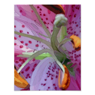 Stargazer Lily Digital Painting Poster