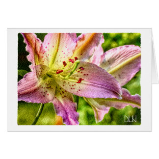 Stargazer Lily Flower/Floral Watercolor Art/ Card