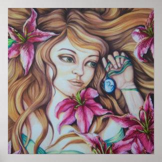 Stargazer Lily Goddess Fantasy Art Print