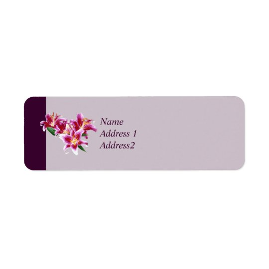 Stargazer Lily Heart Save the Date Return Address Label