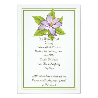 Stargazer lily lilac purple wedding bridal shower 5x7 paper invitation card