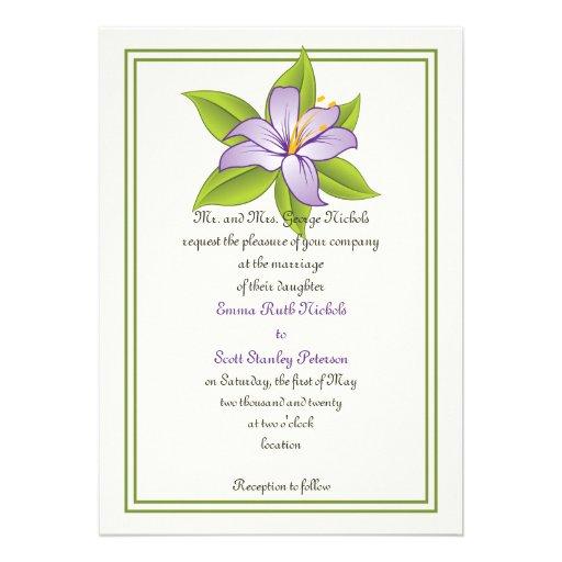 Stargazer lily lilac purple wedding invitation card