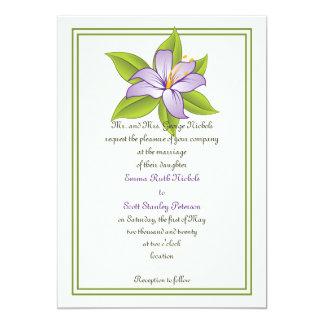 Stargazer lily lilac purple wedding invitation