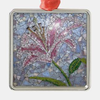 Stargazer Lily Mosaic Metal Ornament