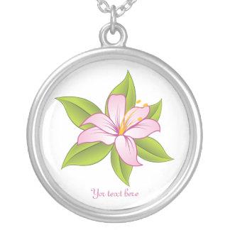 Stargazer lily pink custom silver pendant