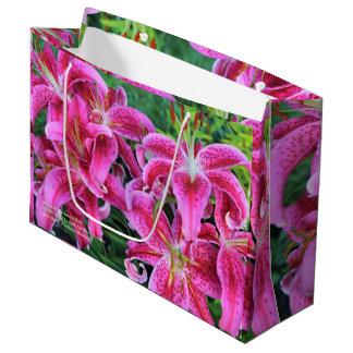 Stargazer Oriental Lilies, full flowers Large Gift Bag