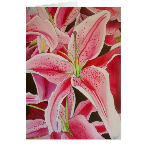 Stargazer pink lily watercolor original art card