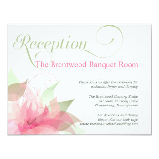 Stargazer Pink & White Floral Wedding Reception Card
