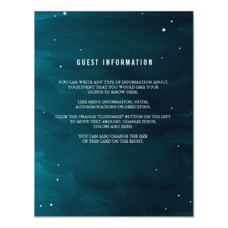 Stargazer Wedding Insert Card 11 Cm X 14 Cm Invitation Card