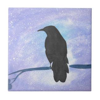 Stargazing Crow Ceramic Tile